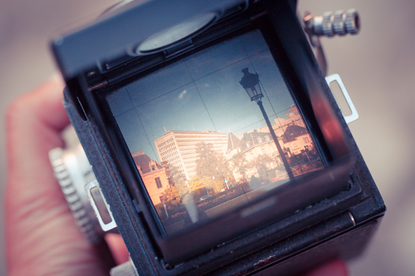 camera with a picture of Leeds UK in the viewfinder